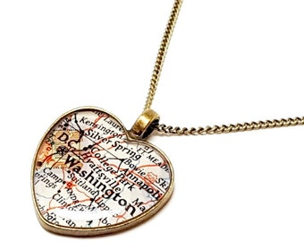 Washington, D.C. 1945 Heart Map Necklace. Heart Map Pendant. Map Jewelry. Resin. Gifts For Women. Vintage Map. Gifts For Her. Valentines Day