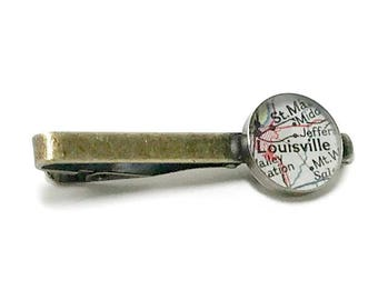 Louisville Map Tie Clip. Louisville Tie Bar. Made With A Vintage 1953 Map. Ready To Ship. Kentucky Tie Tack. Gifts for Men. Wedding.