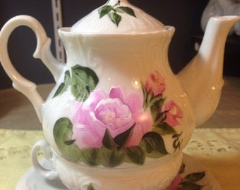 Pink Tea for One Tea set Country Cottage Roses