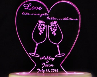 Wine Love  Wedding Cake Topper  - Engraved & Personalized - Light EXTRA