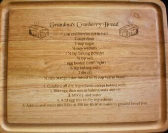 RECIPE Cutting Board - Mother's Day Gift - Mom's - Grandma's HANDWRITTEN or typed Recipe - Family Recipe Board - Personalized -15 x 12
