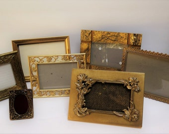 7 Gold Picture Frames Easel backs to stand on table top