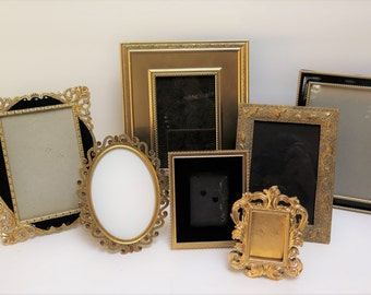 7 Ornate Black and Gold Picture Frames Easel backs to stand on table top