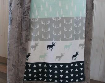 Baby Blanket, Minky moose baby blanket, Minky baby blanket, Moose all minky blanket, 30 x 39