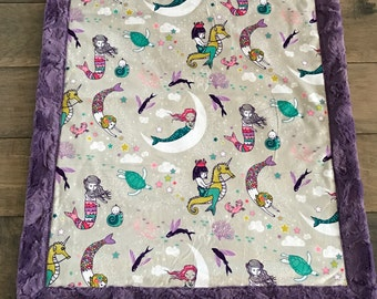 Baby Blanket, Ships Today-Minky baby blanket- mermaid blanket,  minky baby blanket,  minky blanket 30 x 38