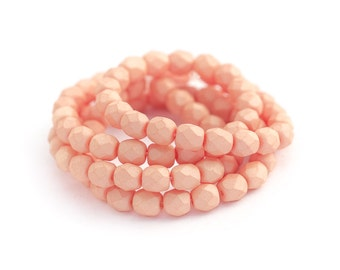 Peach Czech Glass Beads, Matte Opaque Saturated Colour, Fire Polished Faceted Round Spacers, 4mm x 50pc (0017)