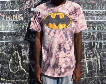 Handmade Bleach Tie Dye T Shirt - BATMAN Tie Dyed TShirt. Discharge Dyed Top. L / XL