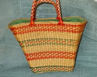 Vintage 1960s or 1970s Small Straw Basket Purse-Tote-Red & Green Stripes-Lined