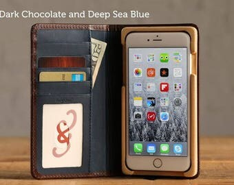 SECONDS - The Luxury Book Case for iPhone 7 Plus - Dark Chocolate and Deep Sea Blue