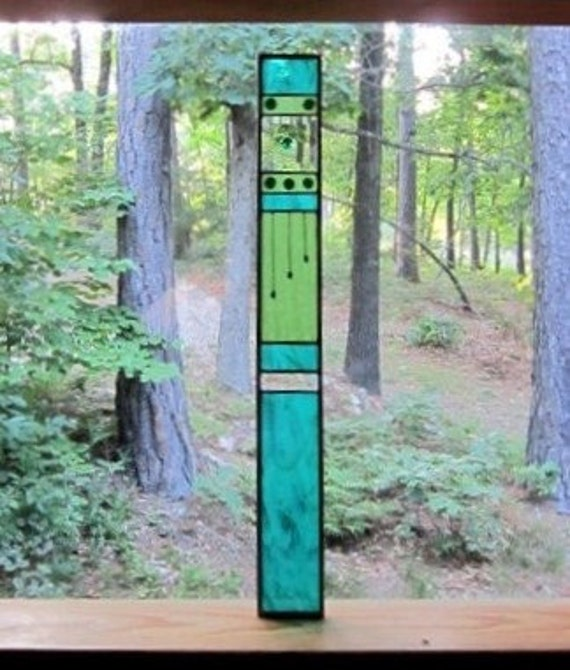 Fabulous Sparkling Teal gift STAINED GLASS art Panel the perfect addition to your home or cottage decor...