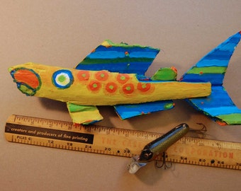 Original Painted Whimsical Driftwood Colorful Fish Art