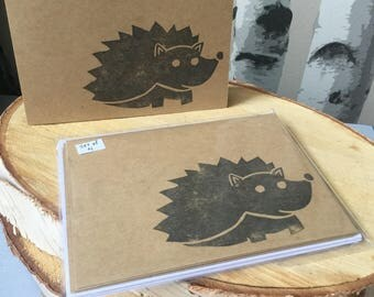 Hedgehog Cards, Set of Four Hand Stamped Cards, Blank Card Set made with Hand Carved Stamp