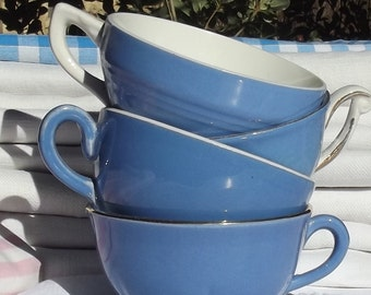 Lot of Antique 1940 Demi tasse Small french tea coffee cups blue mismatch