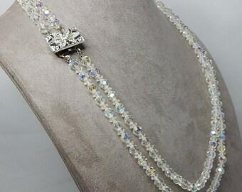 Vintag Aurora Borealis Austrian Crystal Bead 2 Strand Necklace w Rhinestone Clasp   NEJ48