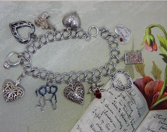 Sterling Silver 11 LOVE Charm Bracelet w/ Double Sterling Chain 30 grams