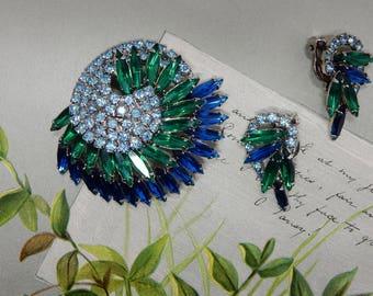 Verified JULIANA Blue & Green Navette Rhinestone Swirling Comma Brooch and Earrings Set    OAE47