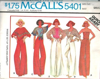 McCall's 5401 Pattern Women's Jumpsuit and Boho Tops Size Small 10 12 1970's Vintage Poncho Top, Scarves by the yard