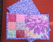 Purple tropical flowers mug rugs set of two rugs