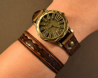 Brown Watch-Leather Bracelet-Brown Bracelet-Gift For Friend-Mother's Day Gifts-Gift For Mom-Leather Gift-Women Bracelet-Women Wrist Bracelet