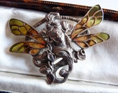 Sterling Silver Art Nouveau Revival Fairy Nymph Brooch with Plique a Jour Wings Solid 15.2 Grams
