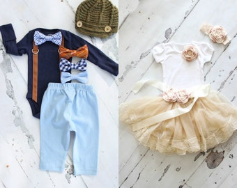 Sister Brother Matching Holiday Outfit Sets. Girl's Floral Tee Tshirt, Chiffon Lace Skirt, Sash & Headband Boy's Bow Tie Bodysuit, Pants