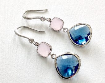 Blue dangle Earrings, bridesmaid blue and ice pink earrings, dangle blue earrings, something blue, bridesmaid earrings, bridesmaid gift, mom