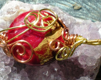 Red and Gold Wire Wrapped Handmade Lampwork Pedant