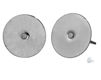 100 pcs. (50 pairs) 304 Stainless Steel Earring Posts/Bases/Studs/Settings with Rubber Backs - 12mm x 10mm - 10mm Glue Pad