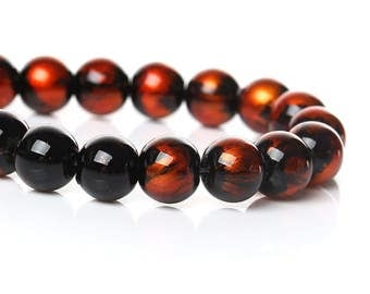 "105 pcs Black and Orange Pearl Swirl Glass Round Loose Beads - 8mm - Hole Size: 1.5mm - 32"" Strand"
