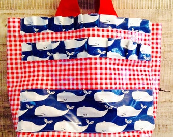 ChristinaBags,  Oilcloth Tote Bag, red and white check , vineyard vines whales, Small Size