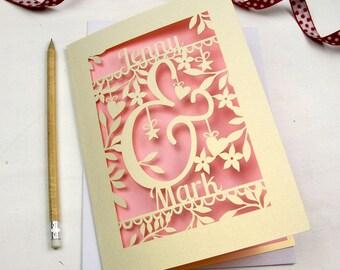 Personalised Laser Cut Papercut Wedding Engagement Anniversary Ampersand Card, sku_ampersand_valentines
