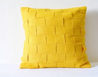 Yellow Felt Cushion Cover , Yellow Decorative Pillow , Accent Pillow, Felt Pillow with Woven Strips, Felt Throw Pillow , Yellow Felt Cushion