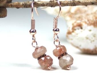 Sunstone gemstone faceted rose gold earrings