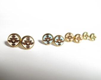 Tribal Post Earrings in Brass, 2