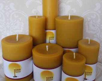 Handmade 100% Beeswax Candles - seven pillars set