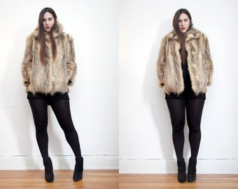 FREE SHIPPING Vintage Cream  Real Fox Fur AMAZING Fur Coat