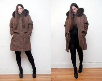 Vintage Real Fox Fur Hood Parka Coat Parka