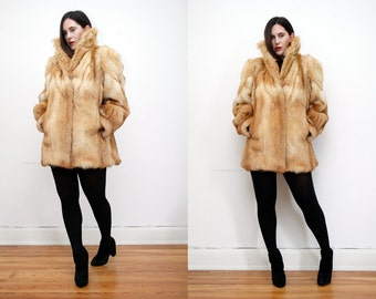 Vintage Red Real Fox Fur Swing Cape Coat RARE