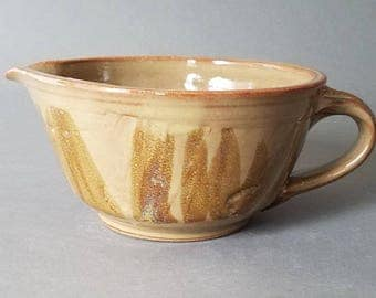 Mixing Batter Bowl with Spout and Handle in Natural Tans Browns Handmade Pottery