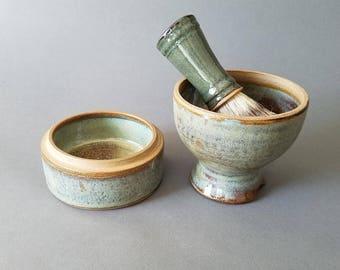 2 or 3 piece Traditional Pedestal Shaving Set Mug Soap Storage Box Lidded Jar Speckled Green Bronze Brown