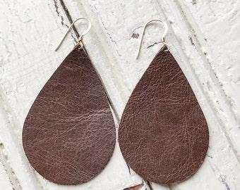 Distressed Chocolate Leather Teardrop Earrings