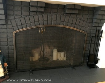 Made to Fit Your Fireplace Hand Forged Iron Arched Simplistic Style Standing Fireplace Screen by VinTin (Item # F-224)