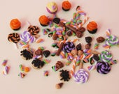 Halloween Miniature candy lot 30 random pieces of cookies, marshmallows, sweets for cupcakes, deco den, dollhouse miniature, scrapbooking