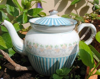 Enameled French TEA POT Stripes & Garland of roses B.B.