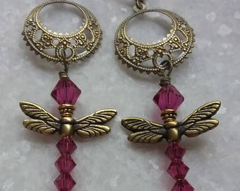 Charming Dragonfly Earrings With Swarovski Fuchsia Crystals // Antiqued Brass Filigree // Sparkly Crystal Dragonfly Earrings // Gift For Her