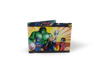 Avengers Card Holder - Upcycled LEGO comic - metro, rail, oyster, tube, subway, travel cards