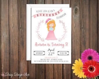 Birthday Party Invitations - Princess Aurora and Laurel in Watercolor Style - Sleeping Beauty - Set of 20 with Envelopes
