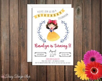 Birthday Party Invitations - Princess Snow White and Laurel in Watercolor Style - Set of 20 with Envelopes