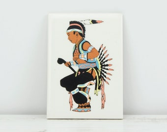 Vintage Mesquakie Tile - Meskwaki Native American Indian Settlement Colorful Tribal Dress Historic Souvenir Decor
