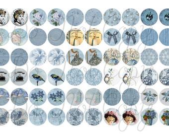 Vintage Blue earring images half inch circle digital download .5